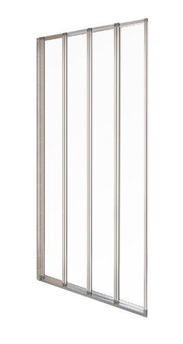 aqualux badewannen duschwand 4 teilig 840 mm silber gl nzend transparent m bel24. Black Bedroom Furniture Sets. Home Design Ideas