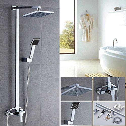 Auralum® 8 inch Duschkopf Regendusche Wasserfall Design Überkopf-Brauseset rain Duschsystem Regenduschkopf Duschstange