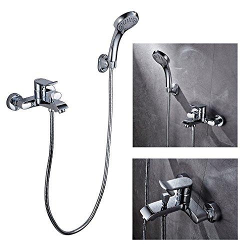 Auralum® Badewannenhahn Duschsystem Badewannenarmatur Wasserhahn Duscharmatur mit Wasserspar Kartusche inkel. Brauseset