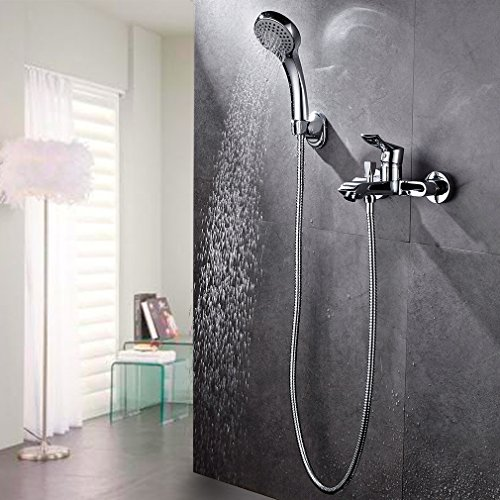 BONADE Funktional Thermostat Badewannenarmatur mit Praktitischem Regalfach Wandhalterung Montage … (Handbrause)