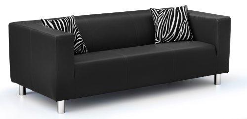 B-famous 3-Sitzer Sofa Cube 183 x 85 cm, PU, schwarz