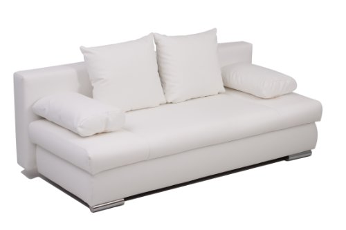 B-famous Schlafsofa Chicago-PUR Kunstleder, weiss 200x95 cm