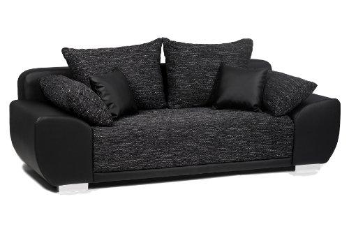 B-famous Schlafsofa Mailand-FK Materialmix Struktur und Kunstleder, schwarz-anthrazit 225x91cm
