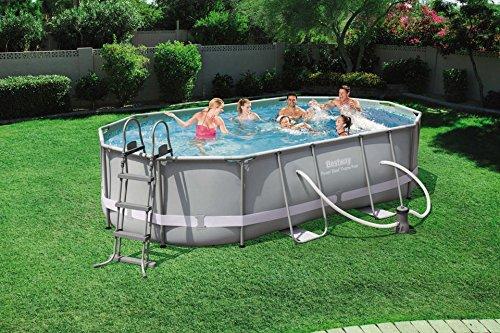 Bestway Power Steel Oval Frame Pool Set, dunkelgrau mit Filterpumpe + Zubehör, 488x305x107cm