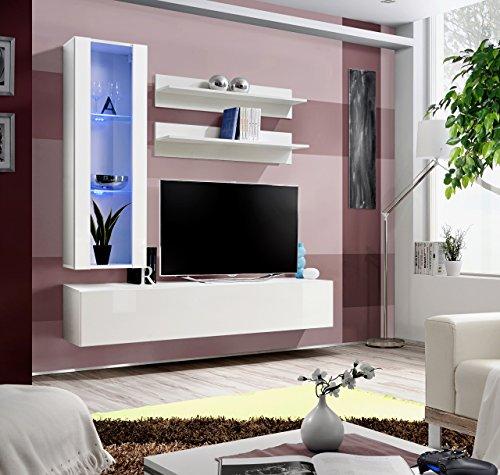 Unbekannt BMF Fly H Modern Hochglanz Wohnzimmer/Schlafzimmer/Studio flach–Möbel Set–Wohnwand mit TV Ständer/LED Schränke & Wandregalen–nur aus BMF. Modern GLZ WHITE