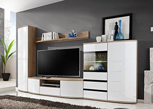 """JUST RELEASED-BMF """"TORONTO"""" moderne Wohnwand-Kommode Schrank Fernsehtisch Unterschrank, Badezimmerschrank-LED Glasregal, gewölbt, Hochglanz-Fronten-SAN REMO/Weiß"""