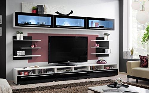 Anbauwand Modern Wohnwand : , deutscher Stil, Modern, Hochglanz, Entertainment Wohnwand Anbauwand