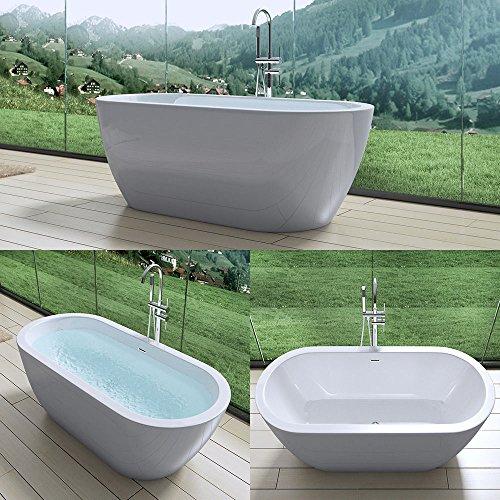 Extravagante Design Badewanne Vicenza501, freistehend in weiß, BTH: 180x80x60 cm