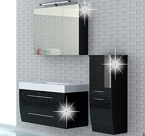 Badmöbel set Atlantis Hochglanz Lackiert Fronten und seiten Schwarz 90 cm besteht aus: waschbeckenunterschrank, spiegelschrank mit beleuchtung, Waschbecken und Hängeschrank