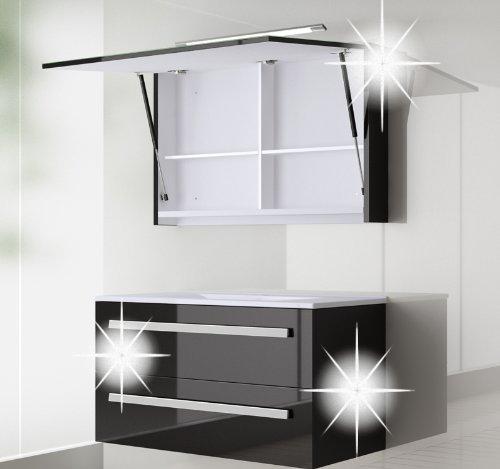 Badmöbel set Atlantis Hochglanz/schwarz Lackiert 90cm besteht aus: waschbeckenunterschrank, spiegelschrank mit beleuchtung und Keramik Waschbecken