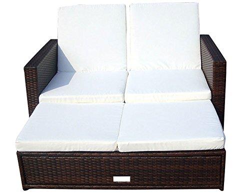 Baidani Gartenmöbel-Sets 10c00008.00002 Designer Rattan Doppelliege Harmony, Sofa, Fußbank mit integrierter Kissenbox und passenden Auflagen, braun