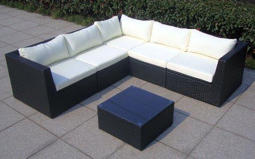 baidani designer rattan lounge garnitur surprise sofa couchtisch mit glasplatte. Black Bedroom Furniture Sets. Home Design Ideas