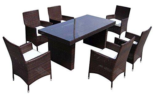Baidani Gartenmöbel-Sets 10c00035.00002 Designer Rattan Sitz-Garnitur Elegancy, 1 Tisch mit Glasplatte, 6 Stühle mit Armlehnen und Sitzauflage, braun