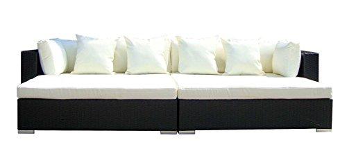 Baidani Gartenmöbel-Sets 10d00001.00001 Designer Rattan Lounge Paradise, 2 Sofas, Sitzauflage, Kissen, schwarz