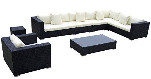 Baidani Rattan Lounge-Garnitur Blizzard, 25-teilig, schwarz