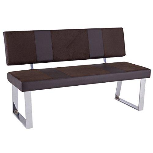 bank mit r ckenlehne sitzbank santa bari sitz kunstleder gestell verchromt dunkel braun m bel24. Black Bedroom Furniture Sets. Home Design Ideas