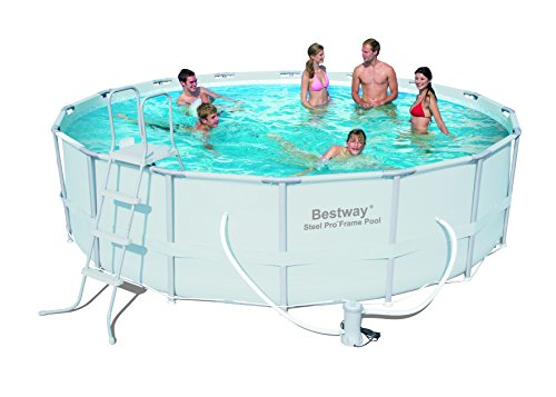 Bestway 56266 Frame Pool Power Steel Set mit Filterpumpe + Zubehör 488 x 122cm