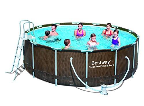 "Bestway 56335GS-03 Frame Pool ""Steel Pro"" Set Rattanoptik mit Filterpumpe Plus Zubehör, 427 x 122 cm"