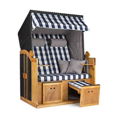 Blumfeldt Hiddensee XL 2-Sitzer Strandkorb 118 cm Volllieger für Garten, Terrasse oder Strandbar (ausziehbare Fußstützen mit Polsterung, 5-stufig absenkbare Haube, 2x Kissen) blau - weiß kariert