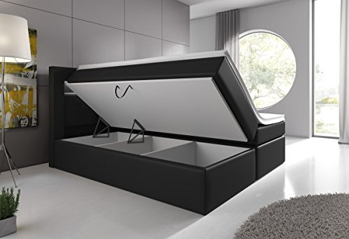 boxspringbett 140x200 schwarz mit bettkasten led kopflicht. Black Bedroom Furniture Sets. Home Design Ideas