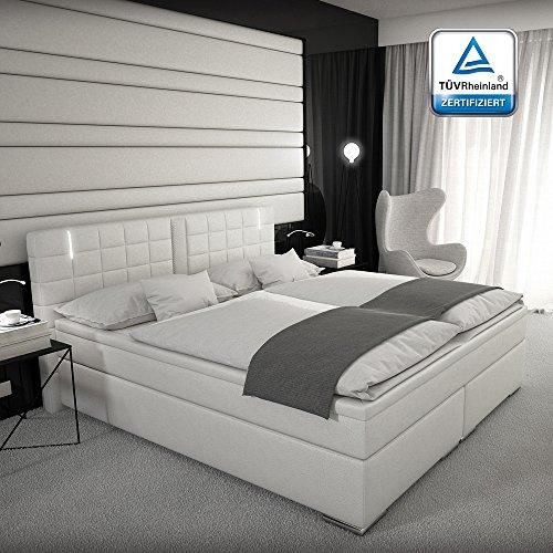 Boxspringbett 160x200 Weiß mit Lautsprecher LED Kopflicht TÜV geprüft VISCO Matratze Kunstleder Hotelbett Polsterbett Ajna