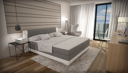 boxspringbett 180 200 grau wei mit lautsprecher led kopflicht tv geprft visco matratze. Black Bedroom Furniture Sets. Home Design Ideas