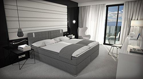 Sedex Boxspringbett Box 180x200 inkl. LED/Bett Doppelbett Hotelbett Grau mit beleuchtung