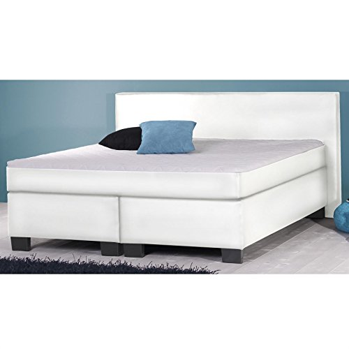 Boxspringbett Doppelbett Hotelbett 180x200 cm weiß Kunstleder mit Matratze und Lattenrost