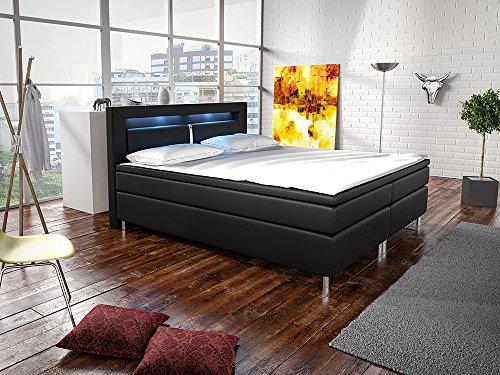 Boxspringbett New Jersey 180 x 200 cm (schwarz) – Doppelbett in Lederoptik inkl. Kopfteil, Bonell-Federkernmatratzen, Topper & LED-Beleuchtung | ArtLife