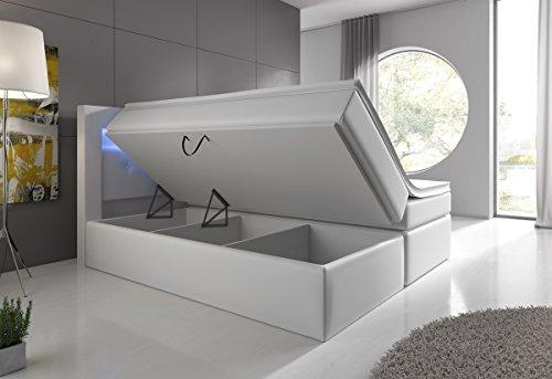 Boxspringbett Weiß 180x200 mit Bettkasten LED Kopflicht Hotelbett Venedig Lift