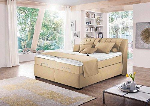 Boxspringbett in beige-meliert, elektrisch, 2 Tonnentaschenfederkernmatratzen auf Taschenfederkern, 2 Gelschaumtopper Maße: 180 x 200 cm