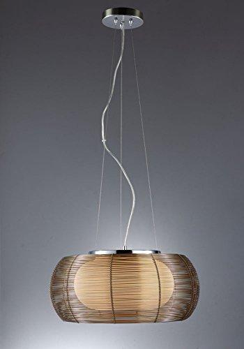 Braun Pendelleuchte Artikel 20026 Chrom Glas brauner Aluminiumdraht Höhe: 17 cm Durchmesser: 40 cm Leuchtmittel: 2 x 60W, E27 In Farbe Schwarz und Silber auch lieferbar!!!!!