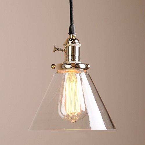 Buyee ® Modern Vintage Industrie Edison Glasschirm Loft Bar Küche Kaffee Pendelleuchte, Hängelampe, Lampe, glas, natur, brass head
