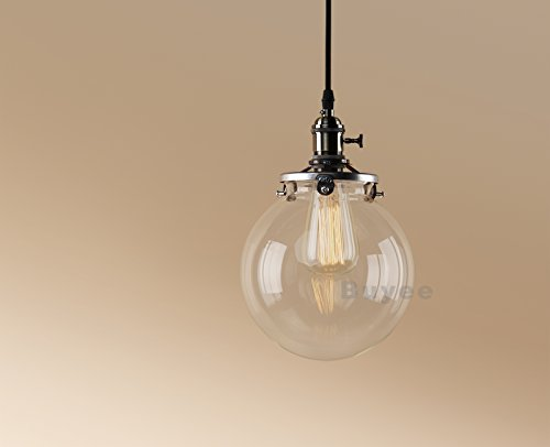 Buyee Lighting Industrielle Edison ein Licht Eisen Body Glass Shade Loft Coffee Bar Küchenhängependelleucht Lampe (Bronze Farbe)