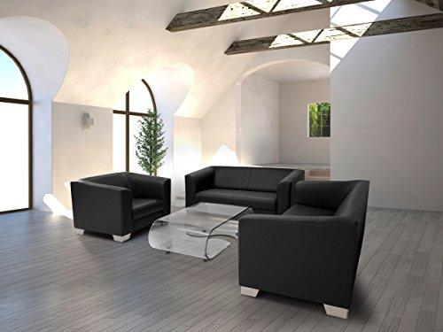 moebel-eins Chicago 2-Sitzer Sofa Couch Loungesofa, Material Kunstleder, schwarz