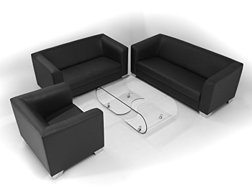 moebel eins chicago 2 sitzer sofa ledersofa schwarz. Black Bedroom Furniture Sets. Home Design Ideas