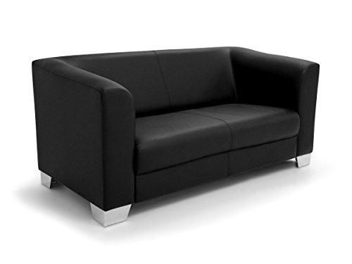 moebel-eins CHICAGO 2-Sitzer Sofa/Ledersofa, schwarz