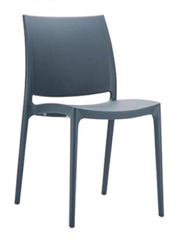 CLP XXL-Küchenstuhl MAYA I Wetterbeständiger Stapelstuhl bis zu 160 kg belastbar I In verschiedenen Farben erhältlich Dunkelgrau