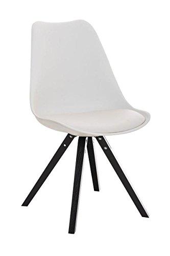 CLP Design Retro-Stuhl PEGLEG SQUARE mit hochwertiger Polsterung und pflegeleichtem Kunstlederbezug | Schalenstuhl mit Holzgestell und einer Sitzhöhe von 46 cm | In verschiedenen Farben erhältlch Weiß, Holzgestell Farbe schwarz, Bein-Form eckig