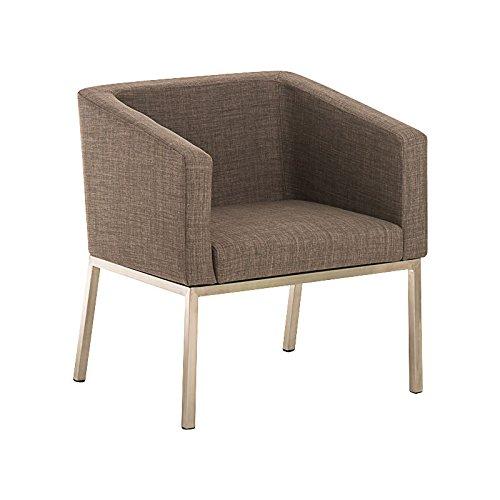 CLP Retro Edelstahl Loungesessel Nala mit Stoffbezug, Gepolsterter Sessel mit Rückenlehne | Sitzhöhe 44 cm Grau