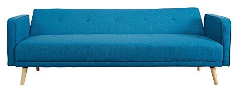CLP Klapp-Sofa/Schlafsofa Ebba, Stoffbezug, ca. 200 x 80 cm, Stilvolle Zierknöpfe, Dicke Polsterung, Couch mit Liegefunktion, Farbwahl Blau