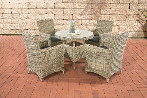 clp polyrattan sitzgruppe casoli mit polsterauflagen garten set bestehend aus einem esstisch. Black Bedroom Furniture Sets. Home Design Ideas