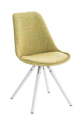 CLP Design Stuhl PEGLEG mit Stoffbezug | Gepolsterter Schalenstuhl mit Holzbeinen und Einer Sitzhöhe 46 cm Grün, Holzgestell weiß