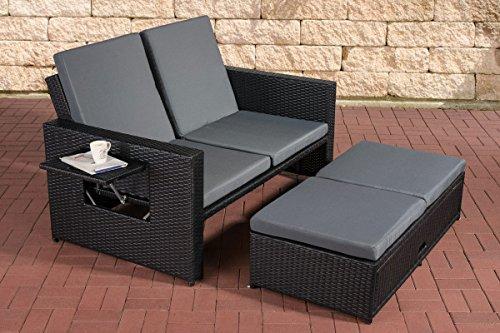 CLP Polyrattan 2er-Loungesofa ANCONA I Garten-Sofa mit ausziehbarem Fußteil und verstellbarer Rückenlehne I In verschiedenen Farben erhältlich Rattan Farbe schwarz, Stärke 1,25 mm, Bezugfarbe: Eisengrau