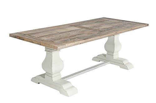 CLP Holz Esszimmer-Tisch SEVERUS, handgefertigt, stabil, Shabby chic Landhaus-Stil, bis zu 4 Größen wählbar antik-weiß, 240 x 100 x 78 cm