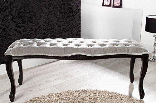 Casa Padrino Barock Sitzbank Silbergrau/Schwarz Breite 115 cm, Höhe 45 cm - Antik Stuhl