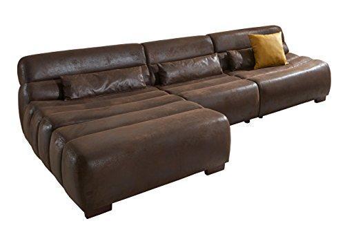CAVADORE Polsterecke Scoutano in Antiklederoptik mit Longchair links/Sofa L-Form mit XXL Longchair im Industrial Design/Größe: 268 x 76 x 170 cm (BxHxT) / Bezug in Antik Chocco/Holzfüße in antik