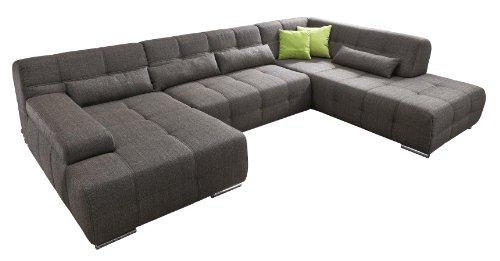 Cavadore Wohnlandschaft Boogies mit Longchair links / Sofa U-Form mit moderner Steppung in Sitz und Rückenlehne / Rückenecht / Inklusive Kissen / Größe: 344x76x231 (BxHxT) / Bezug in Strukturstoff schwarz/braun