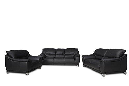 Cotta C083400 M9003 Dunja, Garnitur, 3/2 Sitzer Sessel im Set, Echt Leder, Schwarz