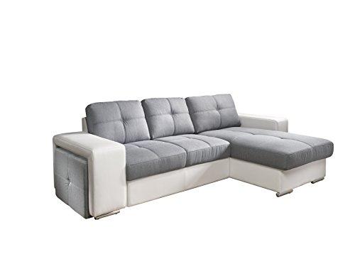Cotta C209660 C311/D200 Polsterecke mit Schlaffunktion und Bettkasten, Kunstleder, 278 x 157 cm, weiß/Strukturstoff Grau